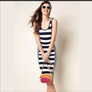 FRENCH CONNECTION    blue white striped dress Sm